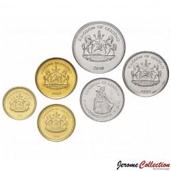 LESOTHO - SET / LOT de 6 PIECES de 10 20 50 Lisente 1 2 5 Maloti - 1992 1998 2010