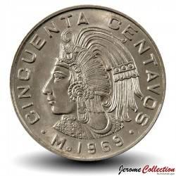 MEXIQUE - PIECE de 50 Centavos - Homme paré de cinq plumes - 1968 Km#451