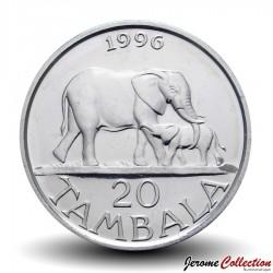 Elephant with calf animal wildlife coin 1996 Malawi 20 tambala