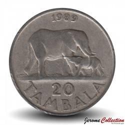 MALAWI - PIECE de 20 Tambala - Maman Eléphant et son petit - 1989 Km#11.2a