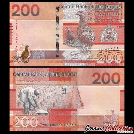 GAMBIE - Billet de 200 Dalasis - Oiseaux francolin - 2019 P42a
