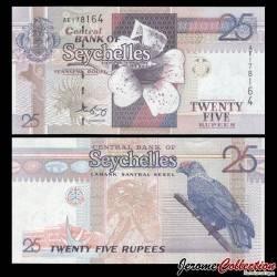 SEYCHELLES - Billet de 25 Roupies - Gardénia de Wright - Oiseau Founingo rougecap - 2008