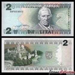 LITUANIE - Billet de 2 Litai - Mgr Motiejus Valancius / Chateau de Trakai - 1993 P54a