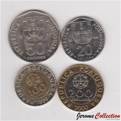 PORTUGAL - SET / LOT de 4 PIECES de 20 50 100 200 ESCUDOS - 1999 2000