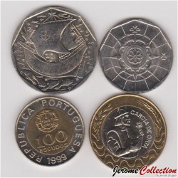 PORTUGAL - SET / LOT de 4 PIECES de 20 50 100 200 ESCUDOS - 1999 2000