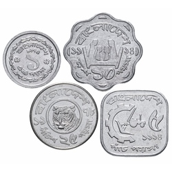 BANGLADESH - SET / LOT de 4 PIECES de 1 5 10 25 POISHA - 1974 1994