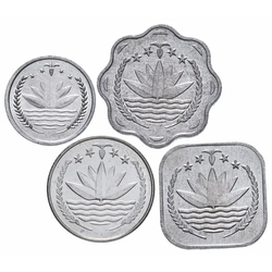 BANGLADESH - SET / LOT de 4 PIECES de 1 5 10 25 POISHA - 1974 1994