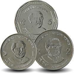 BANGLADESH - SET / LOT de 3 PIECES de 1 2 5 TAKA - 2010 2012 Km#31 32 33