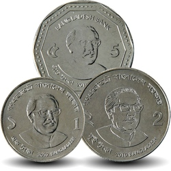BANGLADESH - SET / LOT de 3 PIECES de 1 2 5 TAKA - 2010 2012 Km#31 32 33