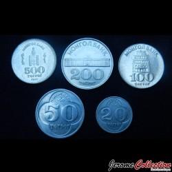 MONGOLIE - SET / LOT de 5 PIECES de 20 50 100 200 500 Tugrik -1994 2001