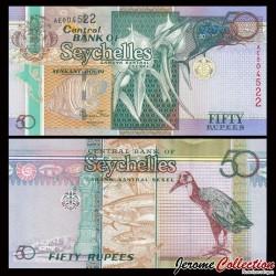 SEYCHELLES - Billet de 50 Roupies - Orchidée - Oiseau Râle de Cuvier - 2011 P43a