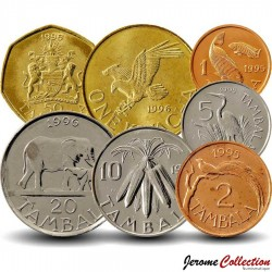 MALAWI - SET / LOT de 7 PIECES de 1 2 5 10 20 50 Tambala 1 Kwacha - 1995 1996 Km#24 27 28 29 30 32 34