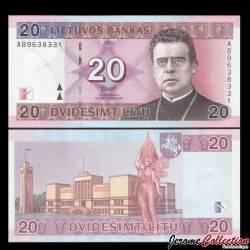 LITUANIE - Billet de 20 Litu - Jonas Mačiulis-Maironis - 2001 P66a
