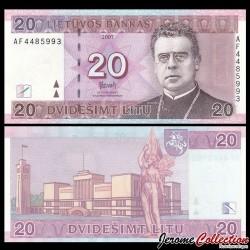 LITUANIE - Billet de 20 Litu - Jonas Mačiulis-Maironis - 2007