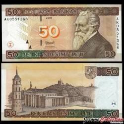 LITUANIE - Billet de 50 Litu - Jonas Basanavicius - 2003