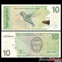 ANTILLES NÉERLANDAISES - Billet de 10 Gulden - Oiseau Colibri - 2016 P20a