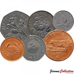 GUERNESEY (île de) - SET / LOT de 6 PIECES - 1 2 5 10 20 50 PENCE - 1998 / 2012 Km#89 90 96 97 149 156