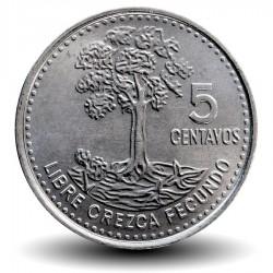 GUATEMALA- PIECE de 5 Centavos - Arbre ceiba - 2009 Km#276.6