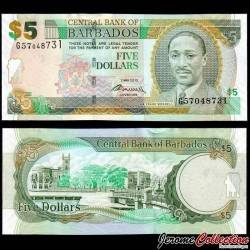 BARBADE - Billet de 5 Dollars - Frank Worrell - 02.05.2012