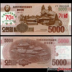 COREE DU NORD - Billet de 5000 Won - 70 ans des relations