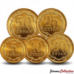 TADJIKISTAN - SET / LOT de 5 PIÈCES - 5 10 20 25 50 Diram - 2006 Km#2 3 4 5.2a 6.2a