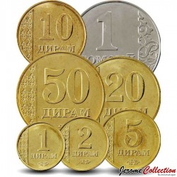 TADJIKISTAN - SET / LOT de 7 PIÈCES - 1 2 5 10 20 50 Diram 1 Somoni - 2011 Km#23 24 25 26 27 35 36