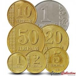 TADJIKISTAN - SET / LOT de 7 PIÈCES - 1 2 5 10 20 50 Diram 1 Somoni - 2011