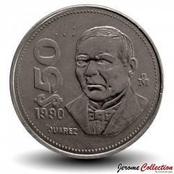 MEXIQUE - PIECE de 50 Pesos - Benito Juarez - 1990 Km#495a