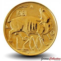 SAINT-MARIN - PIECE de 200 Lires - Vache - Fao - 1981
