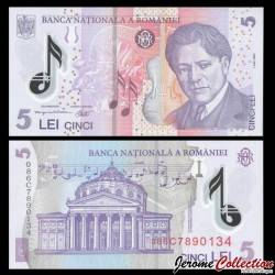 ROUMANIE - Billet de 5 Lei - George Enescu - Polymer - 2008 P118d