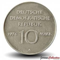ALLEMAGNE DE L'EST / DDR / RDA - PIECE de 10 Marks - 25ème anniversaire de la RDA - 1974