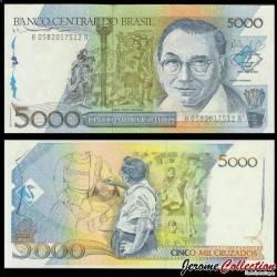 BRESIL - Billet de 5000 Cruzados - Candido Portinari - 1988