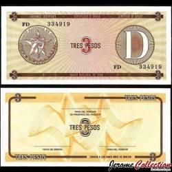 CUBA - Billet de 3 Pesos - 1985 Pfx33
