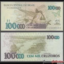 BRESIL - Billet de 100000 Cruzeiros - Colibri / Chutes d'Iguazú - 1993