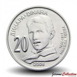 SERBIE - PIECE de 20 Dinars - Nikola Tesla - 2006 Km#42