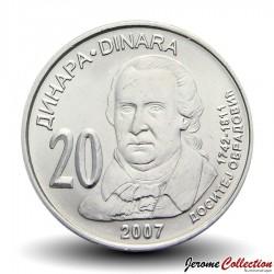 SERBIE - PIECE de 20 Dinars - Dositej Obraovic - 2007 Km#47
