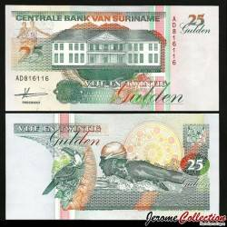 SURINAME - Billet de 25 Gulden - 09.07.1991