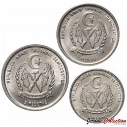 SAHARA OCCIDENTAL - SET / LOT de 3 PIECES de 1 2 5 Pesetas - 1992