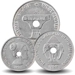 LAOS - SET / LOT de 3 PIECES de 10 25 50 Cents - 1952 Km#4 5 6