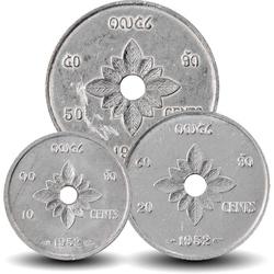 LAOS - SET / LOT de 3 PIECES de 10 25 50 Cents - 1952