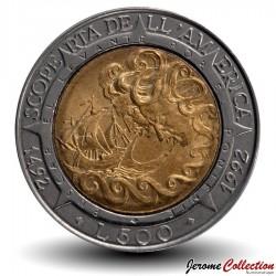 SAINT-MARIN - PIECE de 500 Lire - Découverte de l'Amérique - 1992