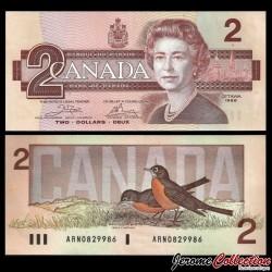 CANADA - Billet de 2 DOLLARS - Elizabeth II / Rouge-gorge - 1986 P94a