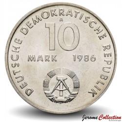 ALLEMAGNE DE L'EST / DDR / RDA - PIECE de 10 Marks - Naissance de Ernst Thalmann - 1986