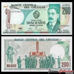 URUGUAY - Billet de 200 Nuevos Pesos - José Enrique Rodo - 1986 P66a