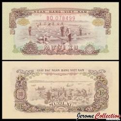 SUD VIETNAM - Billet de 10 xu - Récolte du sel - 1966 P37a