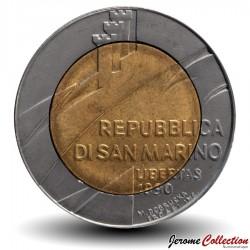 SAINT-MARIN - PIECE de 500 Lires - 1600 ans d'histoire - 1990