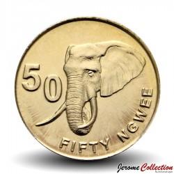 ZAMBIE - PIECE de 50 Ngwee - Un éléphant d'Afrique - 2012