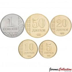 TADJIKISTAN - SET / LOT de 5 PIÈCES - 5 10 20 50 Diram 1 Somoni - 2011