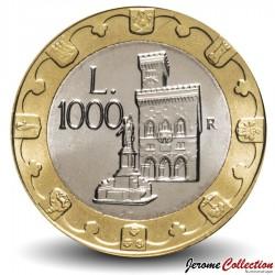 SAINT-MARIN - PIECE de 1000 Lires - Statue de la Liberté et mairie - 1997 Km#368