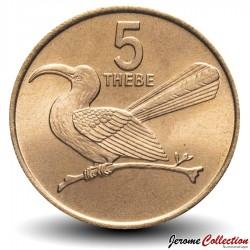 BOTSWANA - PIECE de 5 Thebe - Calao à bec rouge - 1976 Km#4